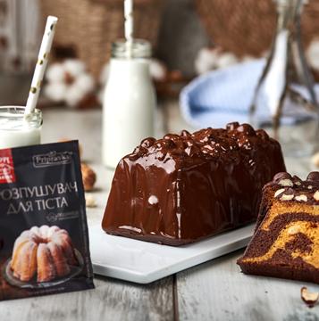 Мраморный кекс с шоколадной глазурью от Лизы Глинской и ТМ Приправка